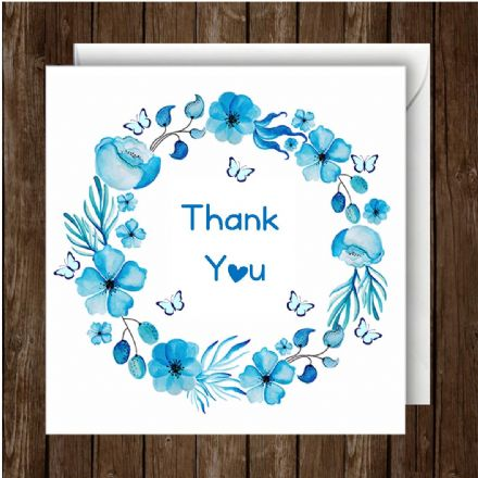 Thank You Greeting Card,  Floral Blue